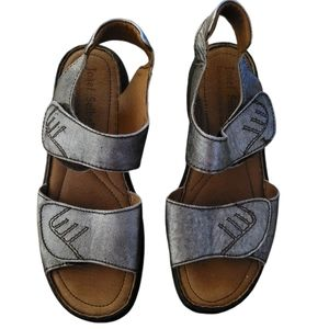 Josef Seibel silver leather sandals
